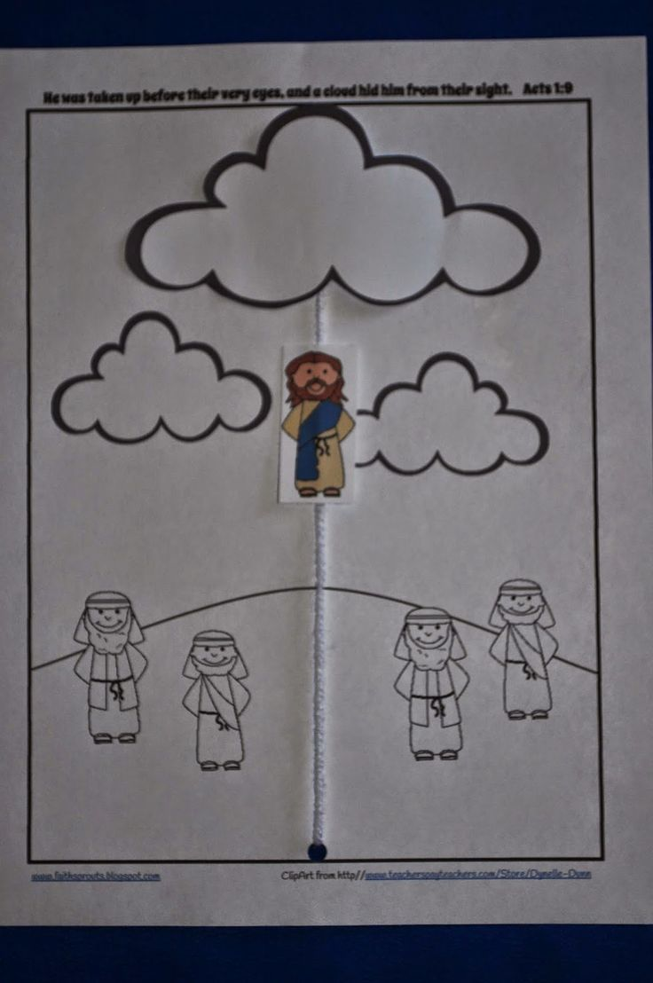 Jesus ascends into heaven in a cloud.