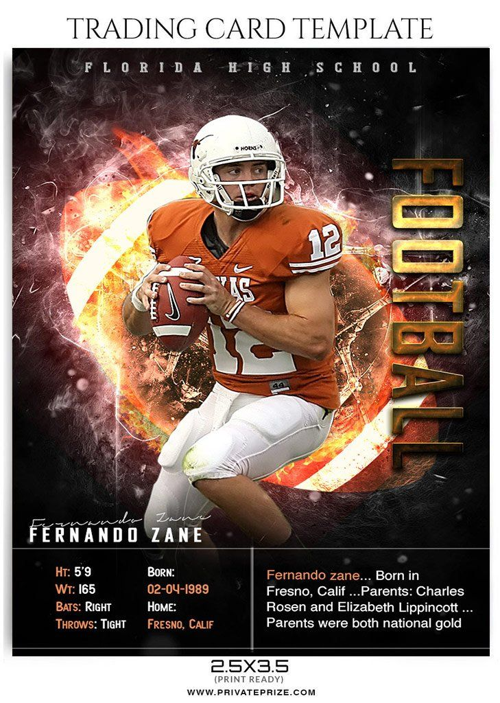 Fernando Zane Football Sports Trading Card Photoshop Template Trading Card Template Football Trading Cards Baseball Card Template
