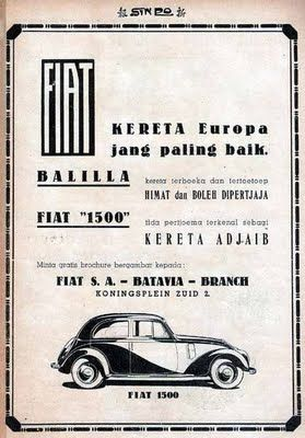 Vintage Ads, Fiat Ballila 1500. Koningsplein, Dutch East Indies,