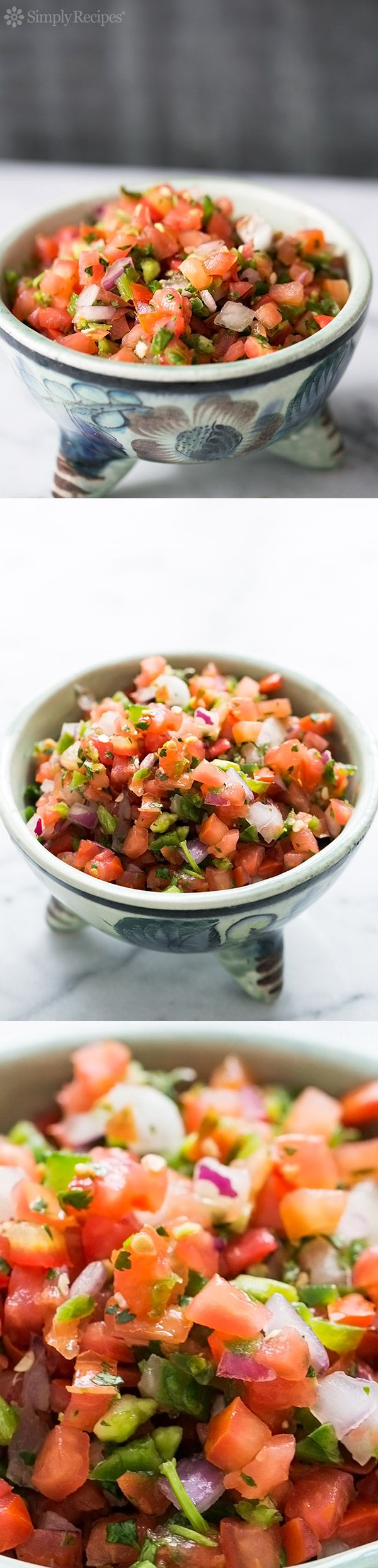 Fresh Pico de Gallo Mexican salsa! Chopped fresh tomatoes, jalapeño chiles, red onion, cilantro, and lime. Great dip to bring with tortilla chips to a summer holiday potluck! On SimplyRecipes.com
