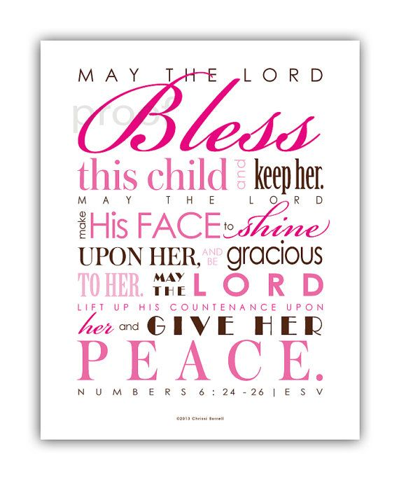 Baptism Gift - Baby Girl Christening Gift Printable Scripture Art - Print & Frame Your Own - 8x10 Numbers 6 INSTANT DOWNLOAD
