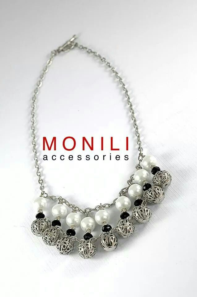 Sliver and White Statement Necklace by MONILI