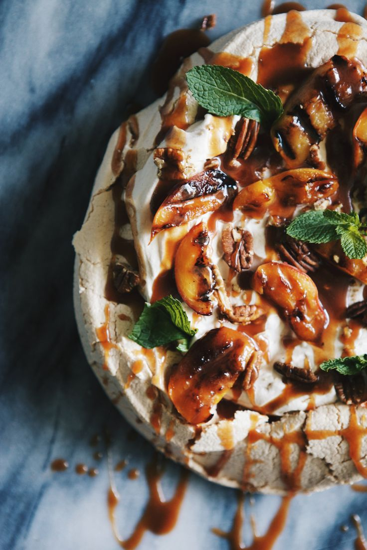 foodiebliss:  Salted Caramel, Grilled Peach & Pecan PavlovaSource: Glazed And Confused  Where food lovers unite.