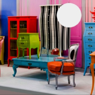 bright colored furniture. old furniture painted bright colors for a focal point in room and little bit of excitement or interest colored