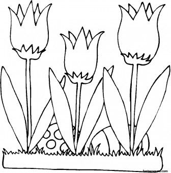 Printable Easter Eggs And Flowers Lilies Coloring Page For Kids