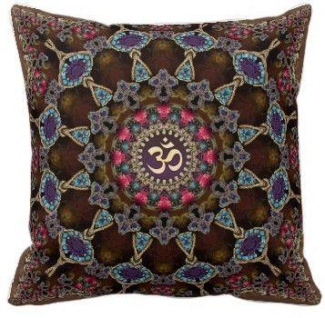 Vintage Bohemian Spiritual Aum 20in x 20in customizable Pillow $64.95 #cushions #pillows