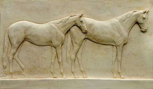 Two Horse Bas Relief Title: Two Horse Bas Relief Medium: semi-refractory clay Size: 36 x 70cm £3,250