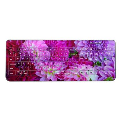 Purple dahlia flowers wireless keyboard - purple floral style gifts flower flowers diy customize unique