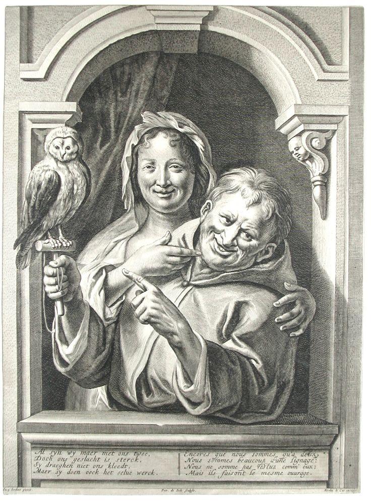 Pieter de Jode II ( 1606 - 1674/94) - Un fou avec une chouette et une femme à la fenêtre - gravure d' ap. jacob Jordaens