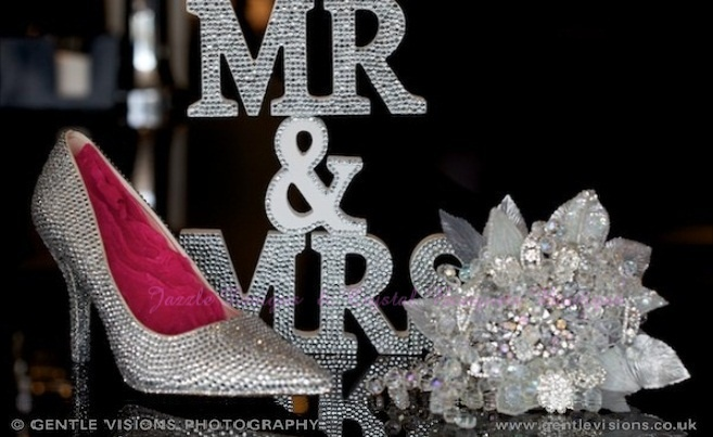 Shoes by : www.JazzleDesigns.com    Photography by: www.gentlevisions.co.uk Crystal Bouquet by : www.crystalbouquetsboutique.com  Sparkly Shoes and Accessories by Jazzle Designs