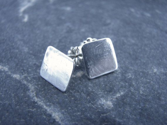 Small Square Silver Stud Earrings by melmacdesigns on Etsy, $25.00