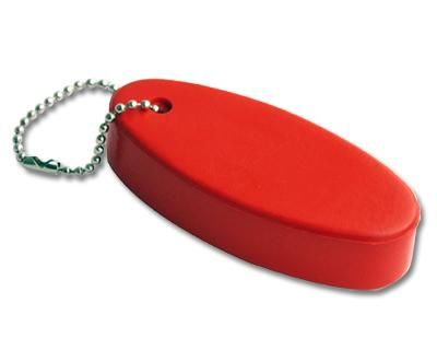 FLOATING KEYRING RED – S29  Price includes 1 color, 1 position print   2 Color imprint available for an additional charge  Decoration option: Pad print  Print Size: 45mm x 20 mm  Product Size: 82mm x 36mm x 20 mm