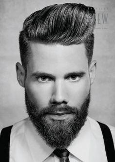 American Crew- Ancora barba, ancora banana, ancora effetto brillante. Un look surreale che sembra portarci dritti all 1800, ricco di personalità e carattere questo taglio non è per tutti, chi lo può portare però, non passa certo inosservato.