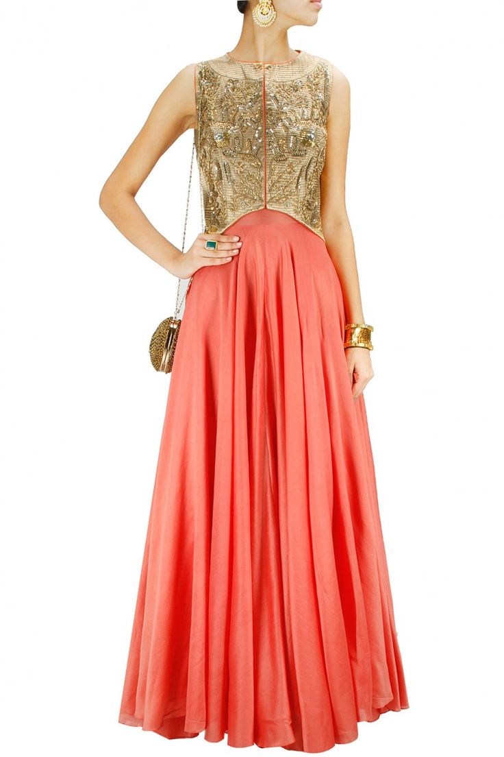JADE BY MONICA AND KARISHMA Deep coral gown with gold embellished jacket Product Code - JADC2T08148743 Price - S$ 1,096