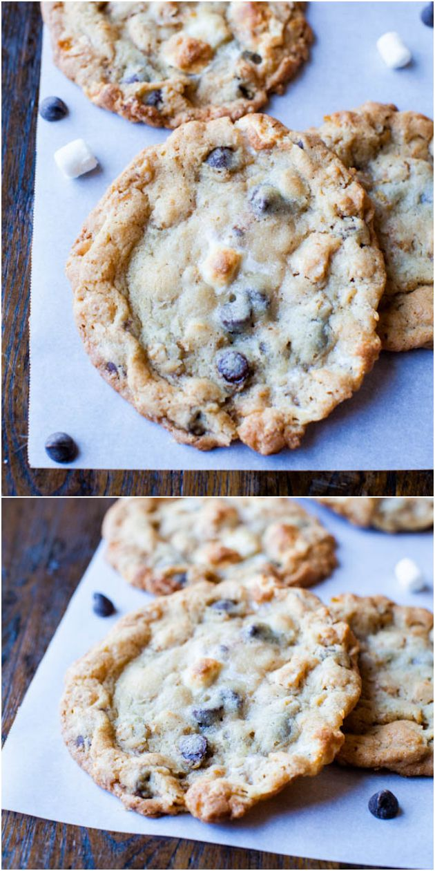 Cornflake-Chocolate-Chip-Marshmallow Cookies - Smores-inspired cookies the size of your head with crunchy Cornflake clusters baked in! It's the famous Momofuku Milkbar recipe & so good!