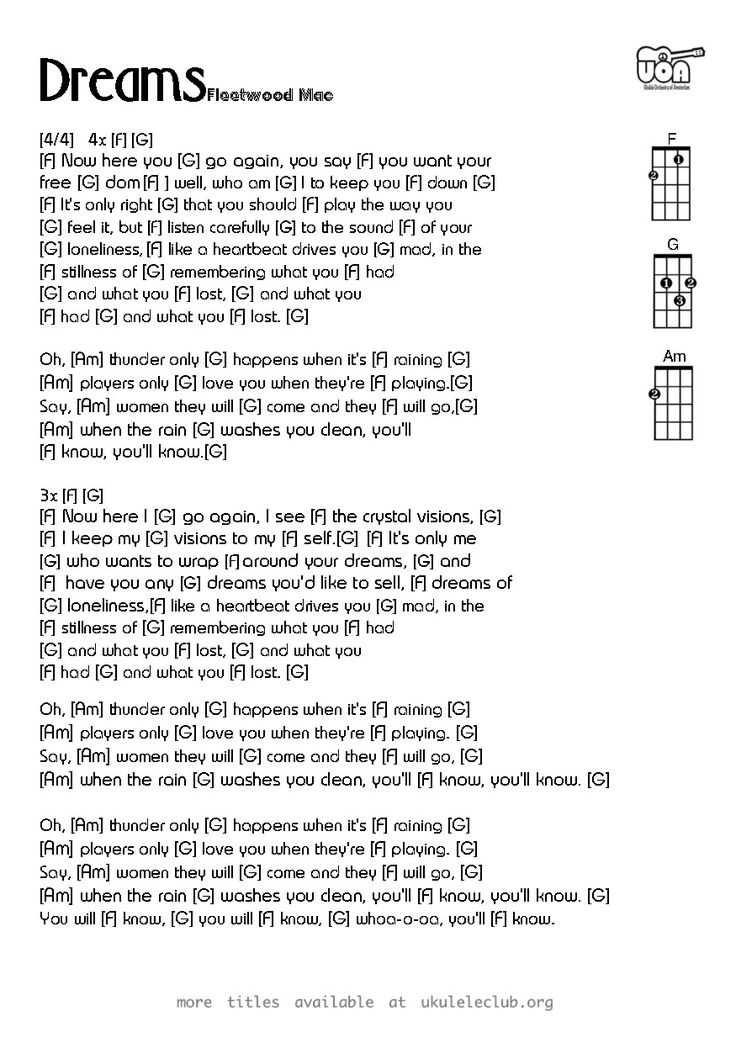 "Fleetwood Mac ""Dreams"". <3 !! Ukulele chords and lyrics."