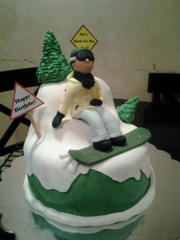 Snowboarder Birthday Cake - Made this cake for a friends sisters birthday. Snowboarder is made out of fondant. I was given a pic of her sister snowboarding and made it to look like her (clothing and stuff matched picture) They LOVED it, and I was super happy at how it came out. TFL! :)