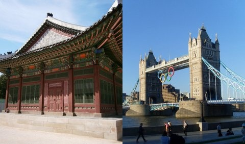 Architectural icons: Seoul's Deoksugung Royal Palace, and London's Tower Bridge