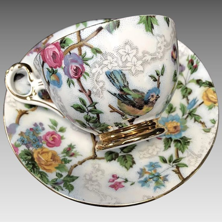 Vintage Old Royal Bone China Cup and Saucer Set - English Bone China Floral Teacup - Birds on branches - Circa 1945-1963