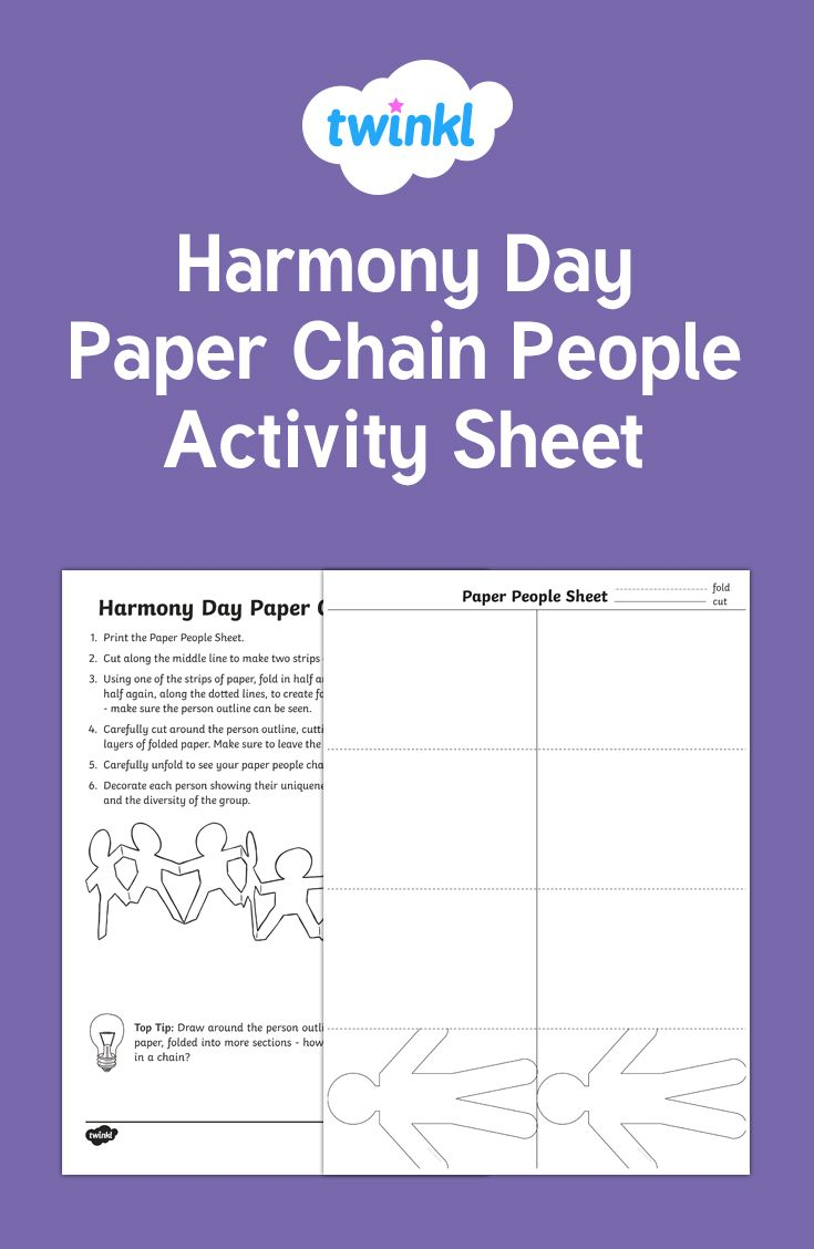 A lovely resource for making chains of paper people for Harmony Day!