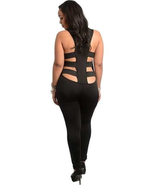 Black Sleeveless Plus Size Body Suit 1XL 2XL 3XL