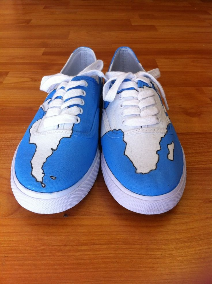 buy some cheap, white shoes from a thrift store and draw a map on em'. how cute!