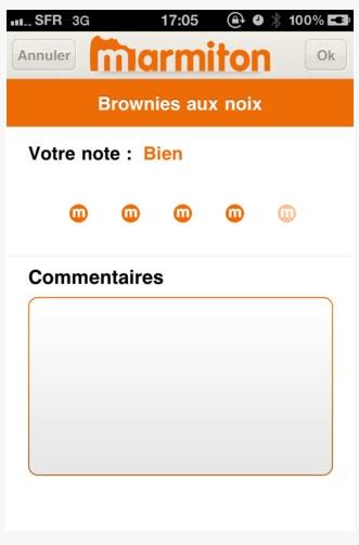 Application Iphone - Marmiton - noter une recette, publier un commentaire.