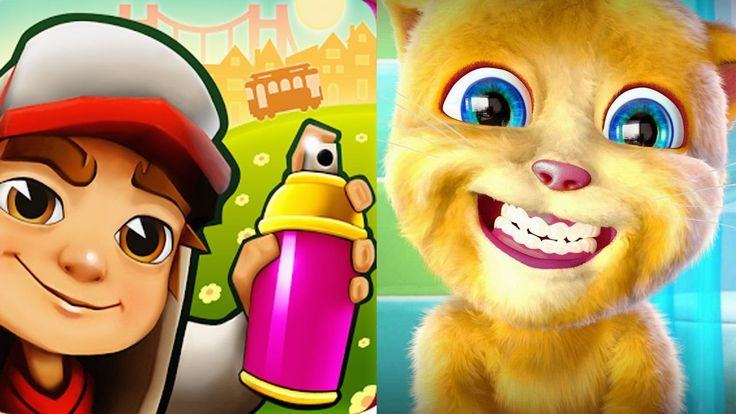 Fun kids video games My Talking Ginger VS Subway Surfers