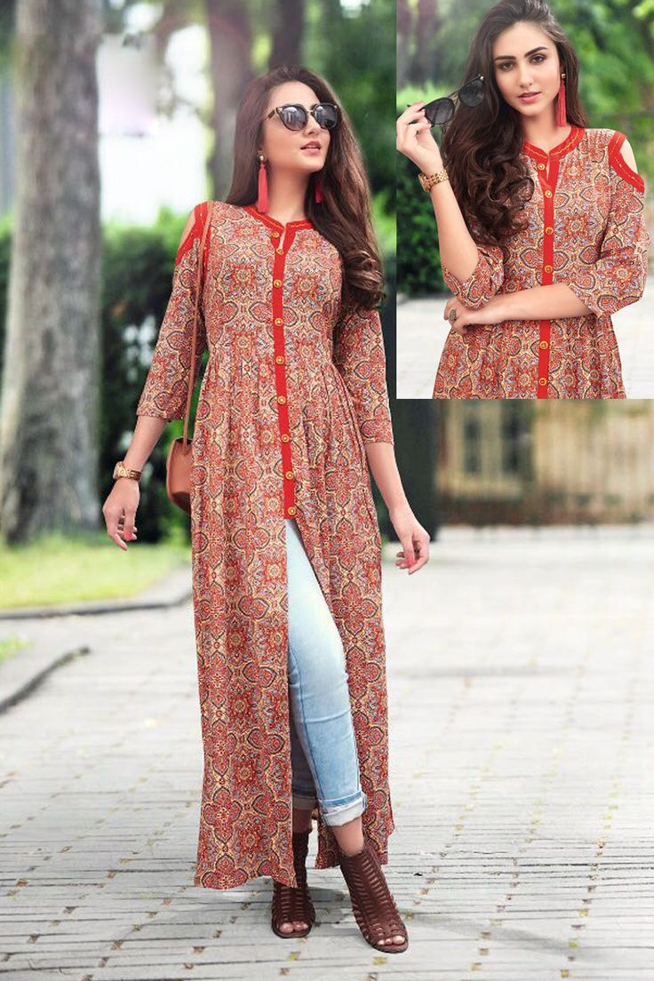 Orange-Stylish-Cold-Shoulder-Rayon-Printed-Long-Kurti-With-Buttons-1024-4290 #bulk #wholesale #wholesalesupplier #wholesaledealer #bulksupplier #bulk dealer #rayon kurti #kurti #kurta #printed #Tunics #Wholesaler #rayon  #LKFABKART
