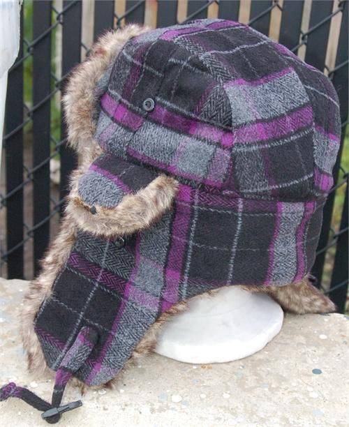 Black and Purple Plaid Aviator Trapper Hat  92337ae3d88