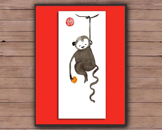 Monkey, Chinese New Year card, Zen Chinese Zodiac, Original Sumi ink Painting, zen decor, zen japan illustration, childrens room art, 2016