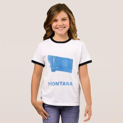 Montana map outline Blue Jeans watercolor Ringer T-Shirt - watercolor gifts style unique ideas diy