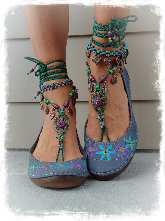 Woodland FAIRY BAREFOOT sandals Purple Forest Green Tribal