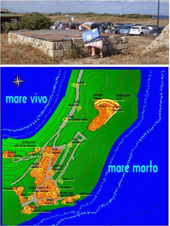 Fig. 9: mappa del sito di Tharros (da http://www.penisoladelsinis.it/cartina%20tharros.html). Nella parte nord, leggermente oltre la collina di Murru Mannu con il tophet, si localizza il pozzo quadrato che abbiamo fotografato, non so con quale grado di restauro: oggi vi è dentro una pompa attiva e funzionante e ne esce un tubo per l'acqua.