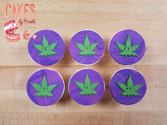 Cannabis Leaf Cupcake Toppers: Set of 6 MADE TO ORDER