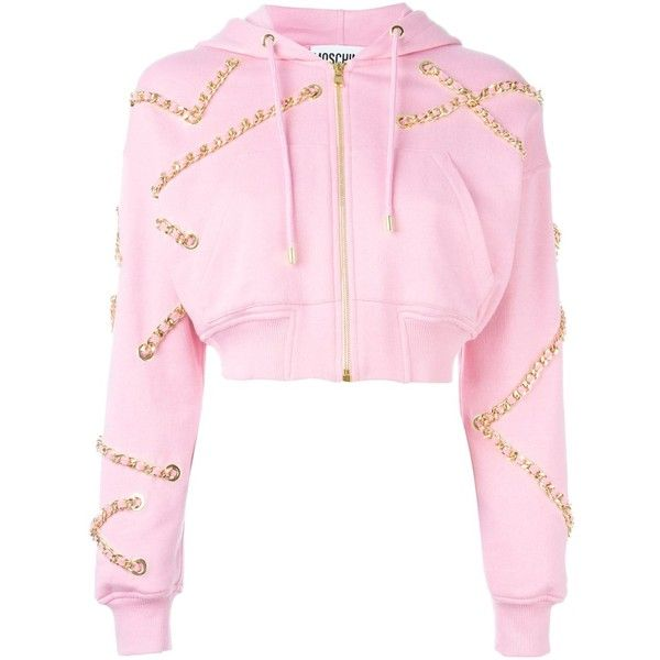 Moschino chain embellished hoodie ($2,085) ❤ liked on Polyvore featuring tops, hoodies, jackets, outerwear, coats, long sleeve hoodies, pink hoodie, hooded sweatshirt, zip front hooded sweatshirt and long sleeve hoodie