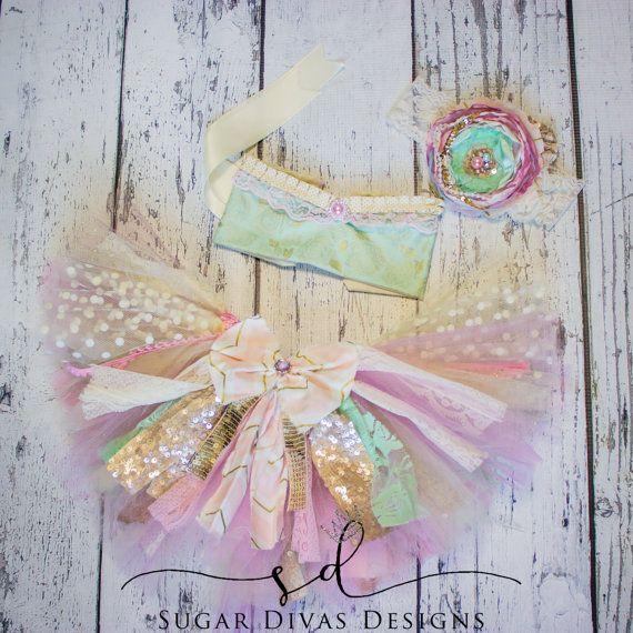 Mint Gold Pink Floral Print mix match tieback top, baby toddler tutu tops, top…