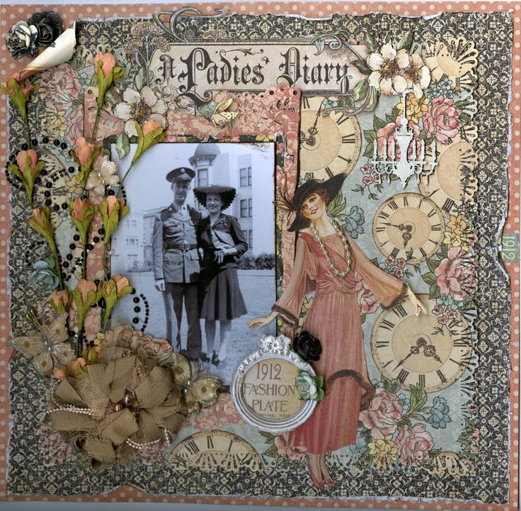Stunning layout with A Ladies' Diary posted onto scrapbook.com today by Memoriesofmygirls. So beautiful! #graphic45 #layouts
