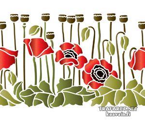 Bårder av vallmor • Schablon till dekorativt måleri - Bårder av vallmor. • återanvändbara schablon