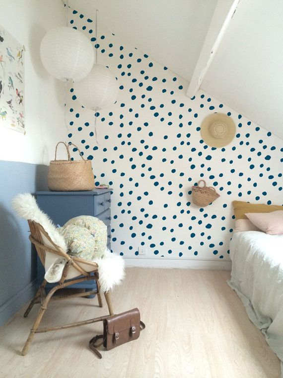 Self adhesive vinyl temporary removable wallpaper, wall decal - Navy polka dot pattern wallpaper - 090