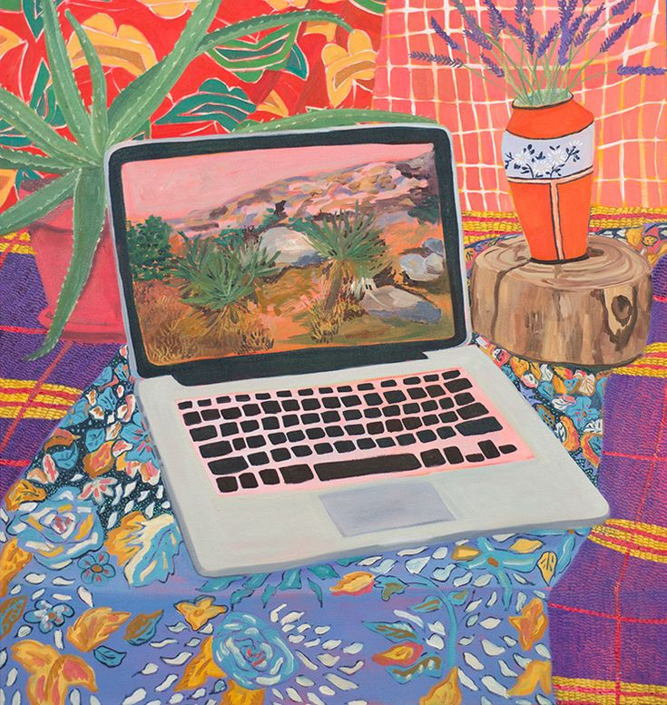 Anna Valdez - Laptop with Landscape, 2014, oil on canvas.