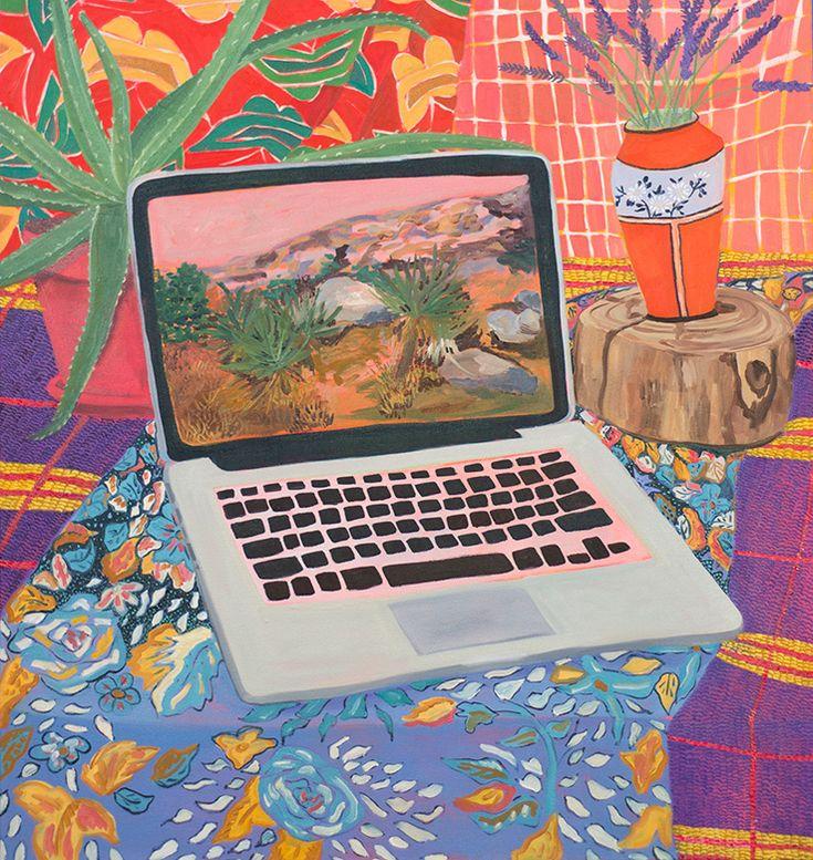 Anna Valdez - Laptop with Landscape, 2014, oil on canvas.