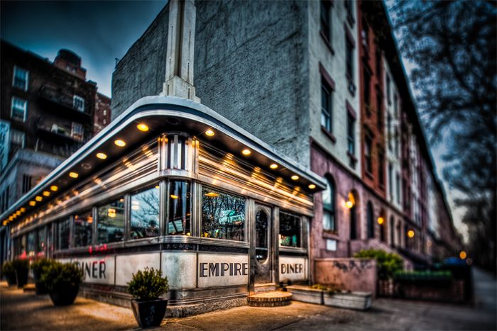 Empire Diner in Chelsea, Manhattan.  The iconic dining establishment in Chelsea will reopen in November.