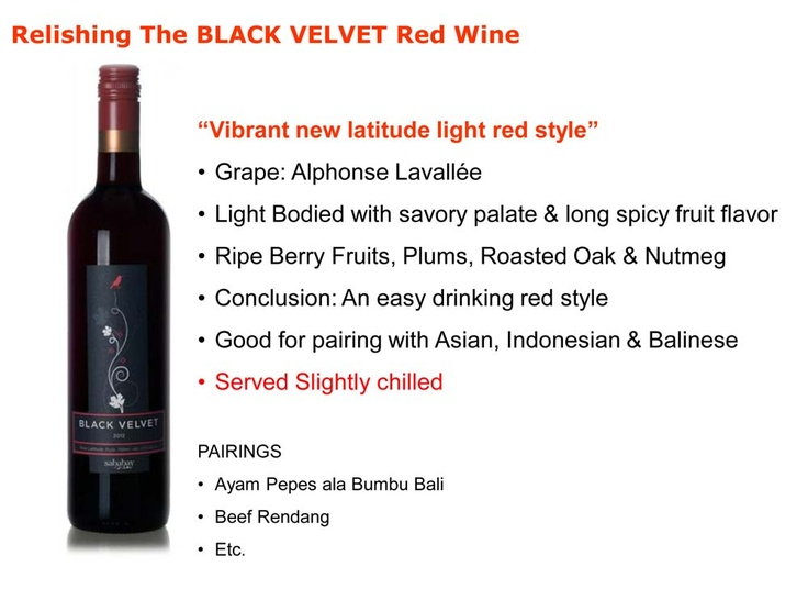 Sababay Black Velvet tasting notes