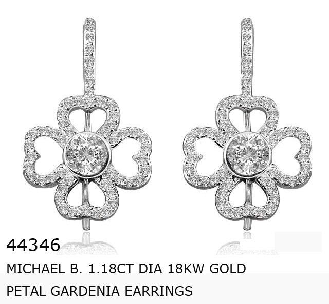 44346  MICHAEL B.  1.18ct Dia 18KW   Gold Petal Gardenia Earrings