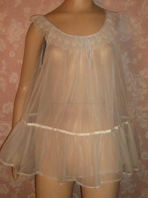 After Eight Vintage Nightgown Babydoll Xs S Sheer Double