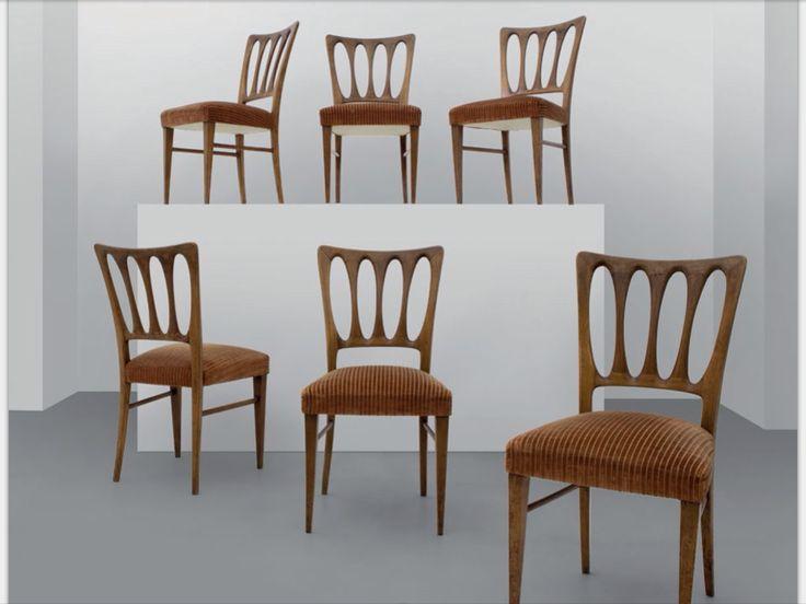 PAOLO BUFFA Sei sedie, esecuzione ARRIGHI, Cantù, anni '50. Legno di ciliegio, imbottiture rivestite in velluto. Altezza cm 88, larghezza 46, profondità 44.
