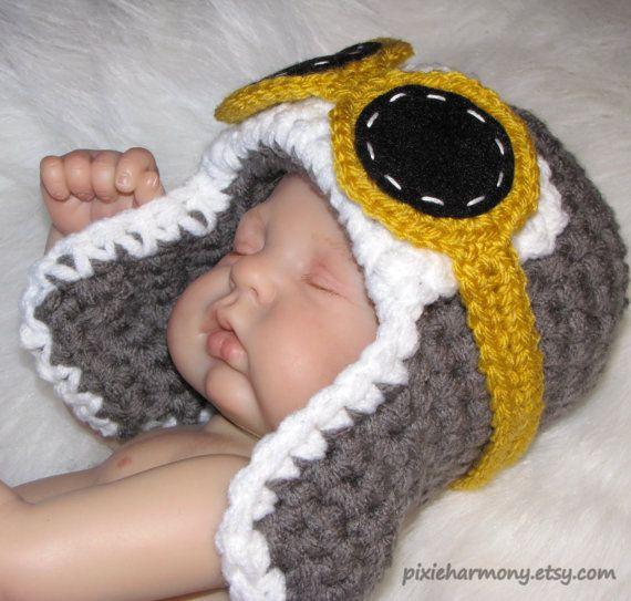 Newborn Baby Boy or Girl Aviator Hat w Goggles  by pixieharmony, $25.95