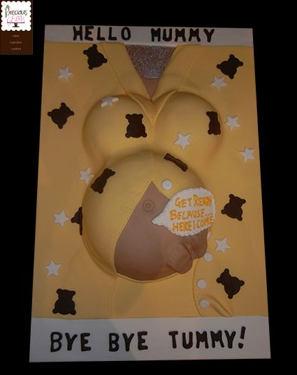 Pregnant Belly cake for a baby shower with baby feet and a special message from baby 'get ready because here I come...'  Created by http://www.preciousgemscakes.com.au