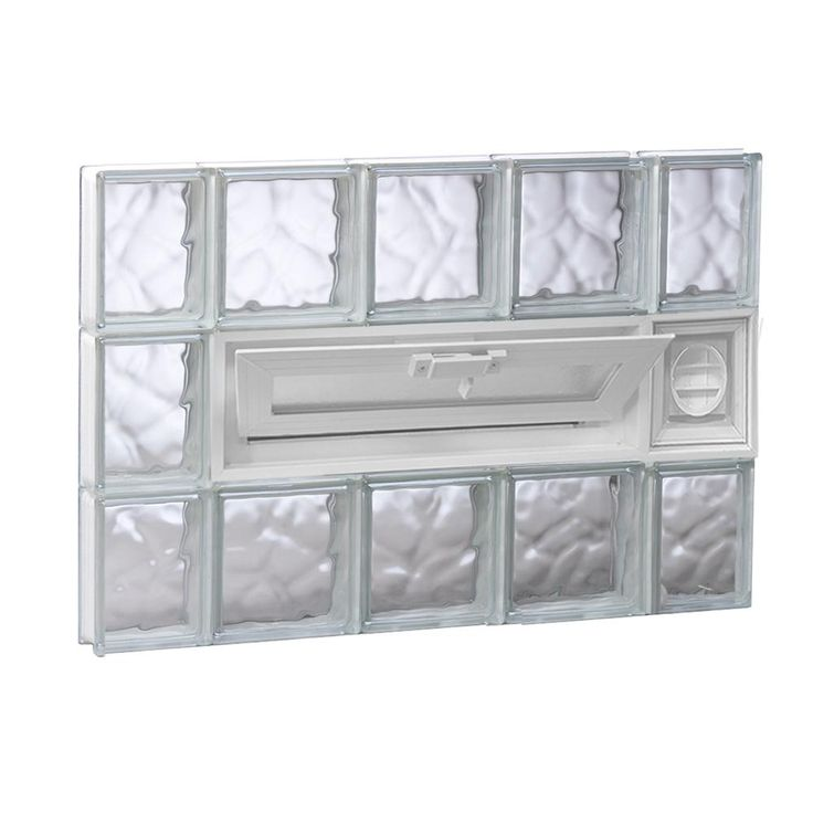 Clearly Secure 34 75 In X 23 25 In X 3 125 In Frameless Wave Pattern Vented Glass Block Window With Dryer Vent 3624vdcdv Glass Block Windows Glass Blocks Wave Pattern